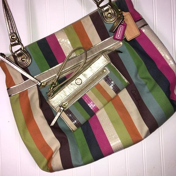 Coach Handbags - Coach Poppy Legacy Stripe Glam tote and Wristlet
